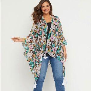 Lane Bryant-Floral Tassel-Hem Kimono- One Size/3X